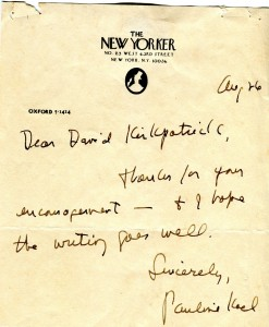 Pauline Kael's Note to David Kirkpatrick