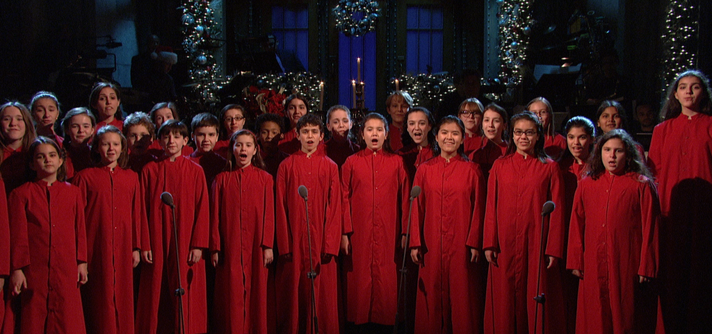 "Cold Opening on SNL: New York City Children's Chorus singing ""Silent Night"" as a tribute to the victims and families affected by the recent tragedy in Newtown, CT."