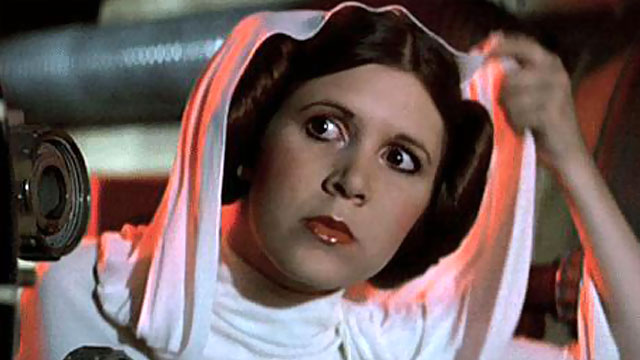 Carrie Fisher as Princess Leia in travels in transmedia, David kirkpatrick's blog. jpg