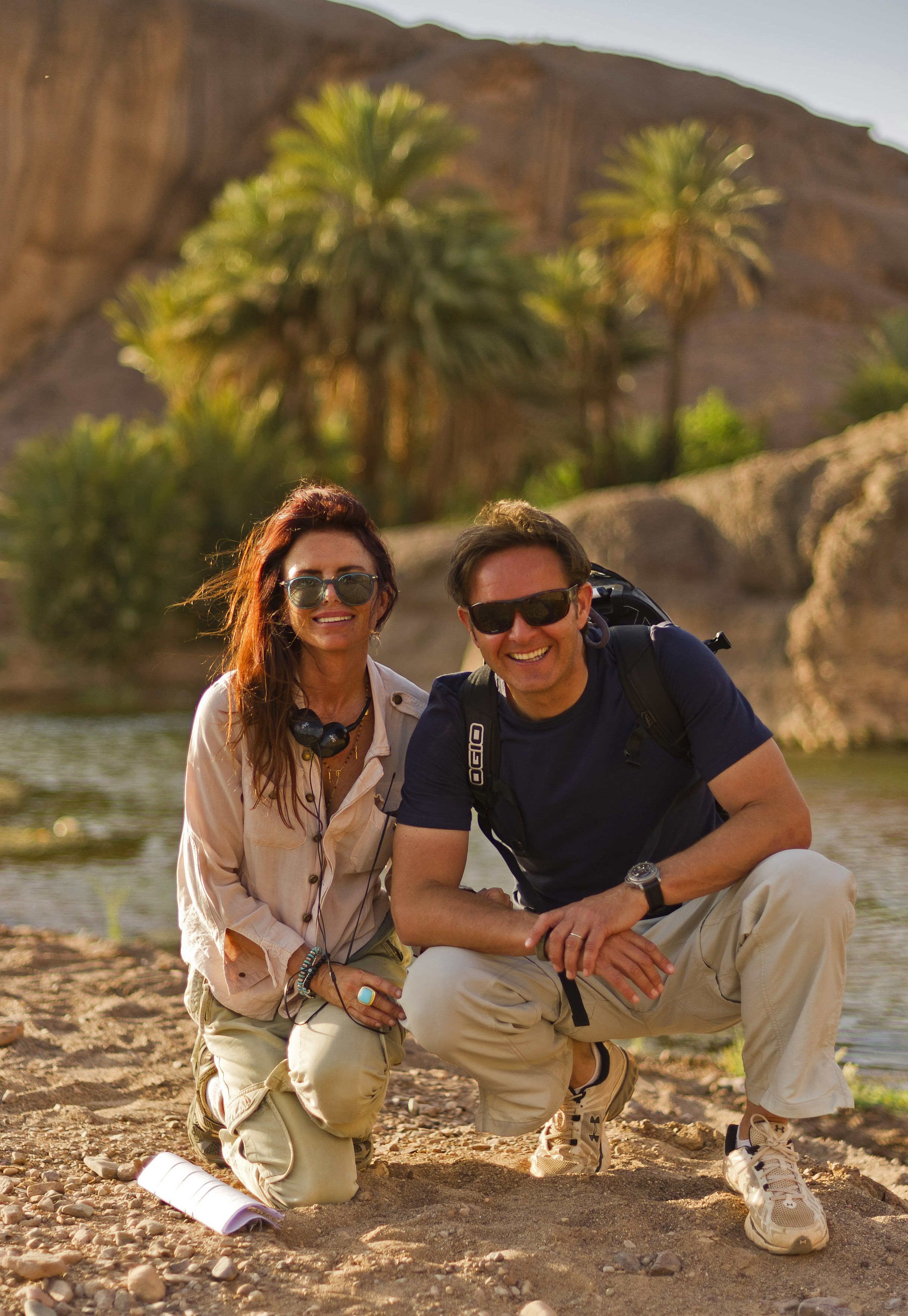 Roma Downey and Mark Burnett on Morocco location for the shooting on The Bible in 2012