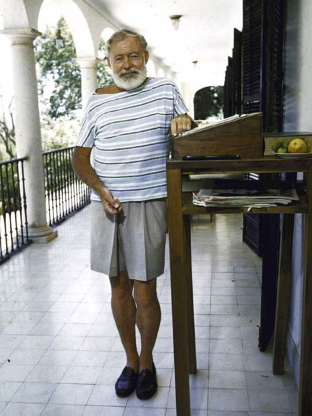 He liked to stand when writing....according to his interview with The Paris Review
