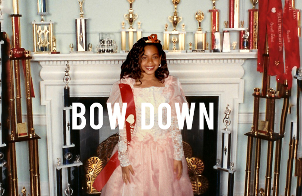 Photo of Beyonce as young girl with tiara. Title treatment  provided by artist
