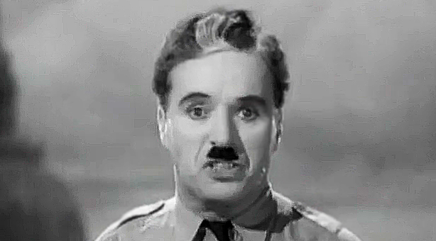 "Chaplin  in The Great Dictator recites recites Luke 17: 21,"".., the kingdom of God is within you."""