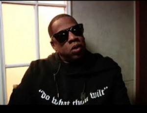 Jay Z wearing his infamous  urban hoodie