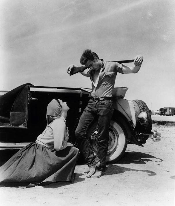 Elizabeth Taylor and James Dean in their version of the Peita - on the set of the motion picture, GIANT,