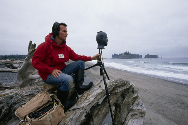 Gordon Hempton recording sound in Olympic National Park, Washington State 2013