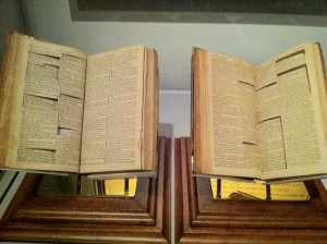 The Jefferson Bible currently on display at the Smithsonian