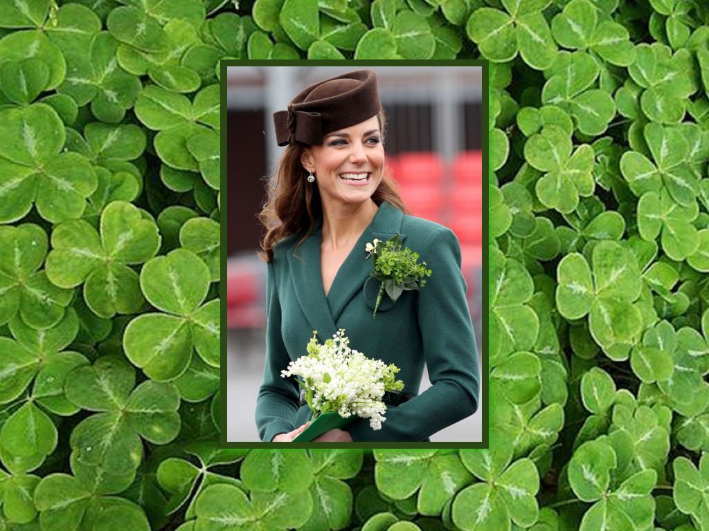 The Duchess of Cambridge wearing a corsage featuring the brand of the Trinity