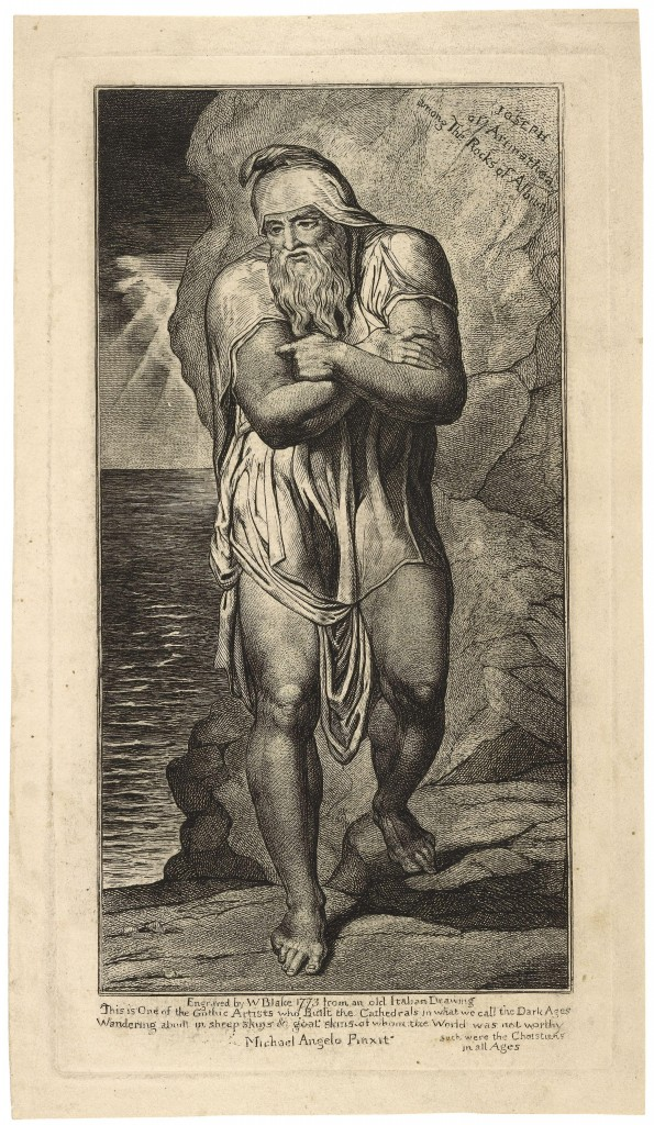 Engraving  by William Blake - Joseph of Arimathea on the Rocks of Albion. Depiction of Joseph is Herculean.