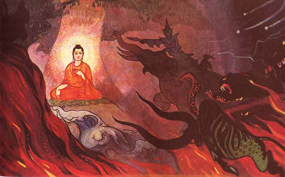 Sidhartha is attacked by the dragon, Mara, as he seeks enlightenment