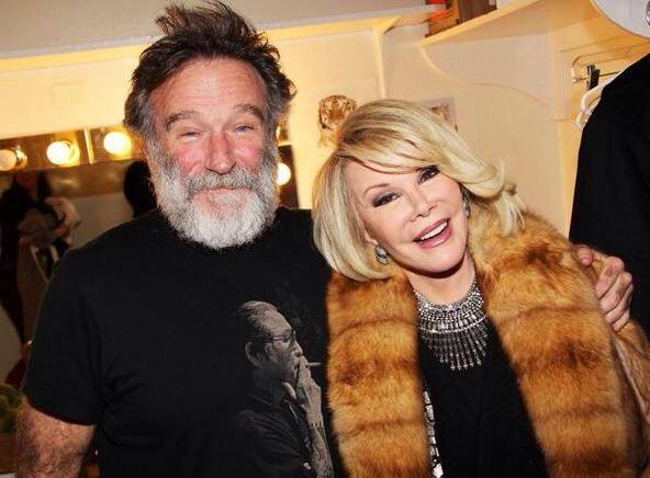 Robin Williams and Joan Rivers. From an August,  2014 Facebook post by Joan Rivers